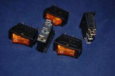 5 Pcs Yellow Light Illuminated Rectangle 2 Position Rocker Switch 3 Pin 120v Ac