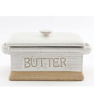 Traditional Stoneware Butter Dish With Lid | Butter Holder Kitchen Storage