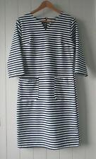 Womens Sophia Pure Feminine sz 12 Navy White Stripe Dress
