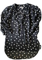 Lauren Conrad Womens Black White Polka Dot Sheer Button Blouse Top Shirt Size XS