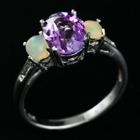 100% NATURAL 9X7MM AMETHYST & ETHIOPIAN YELLOW WELO OPAL SILVER 925 RING SIZE 9