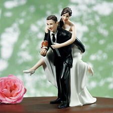 Humurous Playful Couple Football Wedding Cake Topper