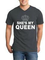 She's My Queen Men V-Neck Couples Matching Valentines Anniversary Fun Shirts