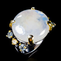 Vintage28ct+ Natural Moonstone 925 Sterling Silver Ring Size 8/R124175