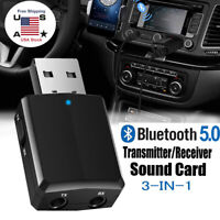 3 in 1 USB Bluetooth 5.0 Audio Transmitter Receiver Adapter For TV/PC/Car Grace