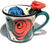 MARY ROSE YOUNG ENGLAND 1999 STUDIO ART POTTERY HAND PAINTED SCULPTURE ROSE CUP