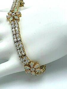Sterling Silver Vermeil Uncas Lab Opal Flower Stations & Multi CZ Bracelet