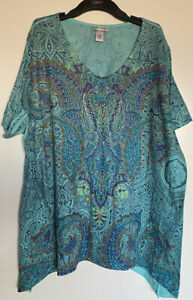 Catherines Plus Size 2X Multicolor Paisley Print Short Sleeve Top