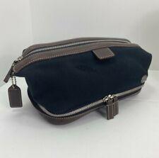 Coach Travel Bag Shave Dropp Kit Black Canvas Brown Leather Zip M5 D3L-5044   M5