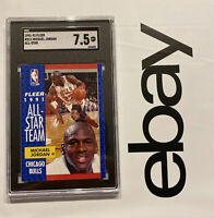 Michael Jordan SGC 7.5 Vintage Card Fleer ALL STAR #211 INVEST Last Dance 1991
