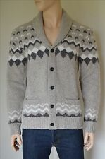 New abercrombie & fitch fairisle châle cardigan sweater pull marron l rrp £ 110