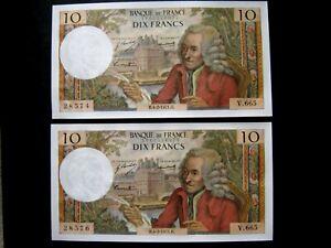 2 BILLETS 10 francs VOLTAIRE  4 - 2 - 1971    SPL à PR.NEUF Alph V.665