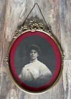 Antique Victorian Ornate Brass Oval Hanging Picture Photo Frame Flowers Floral