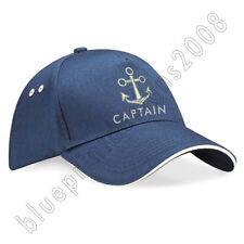 Unisex Peaked Skipper Sailors Navy Captain Boating Hat Adult Cap Embroidered Cap