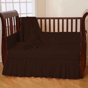 5 Pc Baby Mini Crib Bedding set Fitted Comforter Bumper Pillowcase Ruffle Skirt