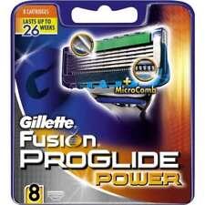 GILLETTE FUSION PROGLIDE POWER RAZOR BLADES 8 - 100% GENUINE UK STOCK
