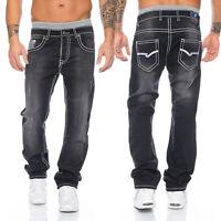Rock Creek Herren Denim Designer Jeans Hose Schwarz dicke weiße Nähte RC-2047