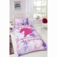 Unicorn Single Duvet Cover Glitter Rainbow Bed Pink Quilt Pillowcase Bedding Set