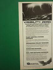1/1987 PUB LEAR SIEGLER ASTRONICS FLIGHT CONTROL SYSTEM ENGINEER ORIGINAL AD