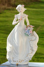 Vintage European Handcrafted Lady Germany Porcelain  Woman Figurine Statue white