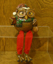 """Shelf Sitter #X5545C OWL w/ CHRISTMAS  PACKAGE, 6.5"""" Transpac From Retail Store"""