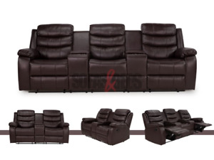 CHELSEA 3+2 SEATER BROWN LEATHER CINEMA STYLE RECLINER SOFA