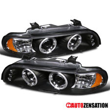 For 1996-2003 BMW E39 5-Series LED DRL Black Halo Rim Projector Headlights