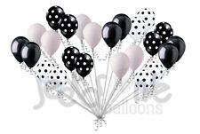 24 pc Polka Dot Black & White Latex Balloons Party Decoration Birthday Wedding