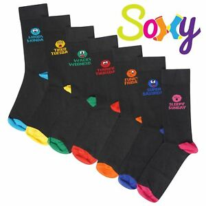 Mens / Boys 7 Pack Novelty Days of the Week Socks Emoji Mood Fun Socks