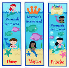 3 CHILDRENS PERSONALISED BOOKMARKS,MERMAIDS LOVE TO READ.18cm x5cm laminated