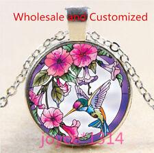 Vintage Hummingbird Cabochon Tibetan silver Glass Chain Pendant Necklace #5149