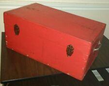 ANTIQUE Primitive WOOD TOOL BOX Chest Storage Case Toolbox Foot Locker Sm. Trunk