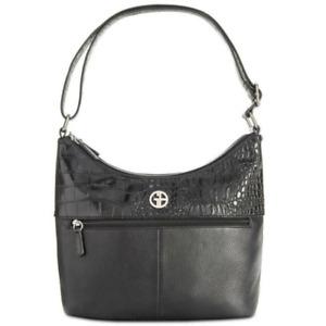 Giani Bernini Women's Pebble Croc Hobo Handbags Tote Shoulder Bag Black NEW