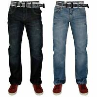 Crosshatch Men Regular Fit Jeans Straight Leg Denim Trouser Pants With Free Belt