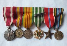6 Vietman War Era Miniature Military Medals Attached to Ribbon Bar