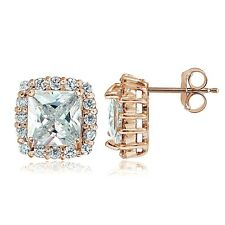 Rose Gold Flashed Sterling Silver CZ Princess-Cut Square Halo Stud Earrings