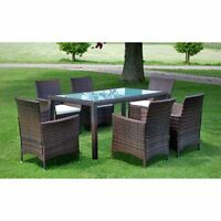 vidaXL 13 Piece Outdoor Dining Set Poly Rattan Wicker Brown Seater Glass Table