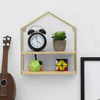 USA Wall-mounted Shelf Rack Storage Iron Wood Hanging Display Holder Home Decor