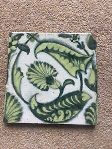 Rare Original William De Morgan Antique Pattern Tile Victorian Fire Place