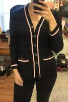 St John Collection Santana Knit Black Pink Striped Cardigan Jacket Womens Sz S