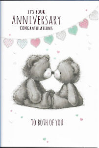 """ON YOUR ANNIVERSARY GREETING CARD 7""""X5"""" CUTE BEARS FREE P&P"""