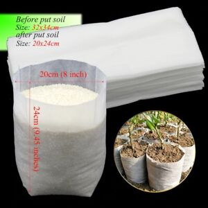 50Pcs 32x34 cm Nursery Plant Growing Bags Biodegradable Nonwoven Fabric Seedling