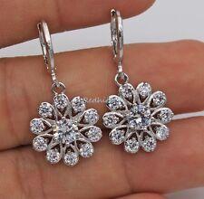 18K White Gold Filled - White Topaz Hollow Windmill Flower Lady Wedding Earrings
