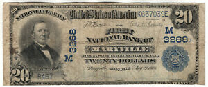 1902 PB $20 FIRST NATIONAL BANKNOTE CURRENCY MARYVILLE MISSOURI CIRCULATED FINE