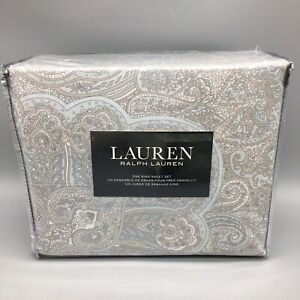 4pc Ralph Lauren Paisley KING Sheet Set Taupe Gray Light Blue XDeep Mattress NEW