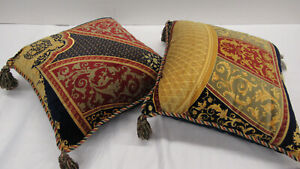 $725 ETRO Italy Home Collection decorative pillow set (x2) / multicolor paisley