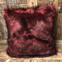 Pack Of 4 Purple Faux Fur Filled Cushion Cover 18x18 Bedroom / Living Room