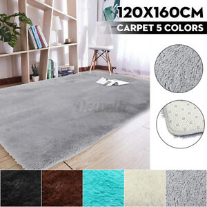 120×160CM SHAGGY RUG Anti-Skid Fluffy Area Rugs Floor Carpet Mat Bedroom Home z