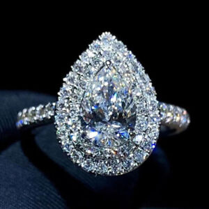 1.89 TCW Pear Cut Moissanite Double Halo Engagement Ring 14k White Gold Plated