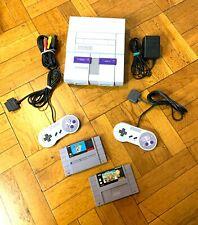 Super Nintendo SNES Console w/ OEM Controllers + Mario World & Mario Kart Bundle